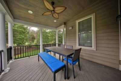 Beautiful Deck Design with Fan and Furniture in Central VA, Richmond, Williamsburg, Charlottesville and Hampton Roads
