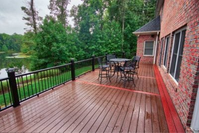 Brick House and Wooden Deck After Rain in Hampton Roads, VA