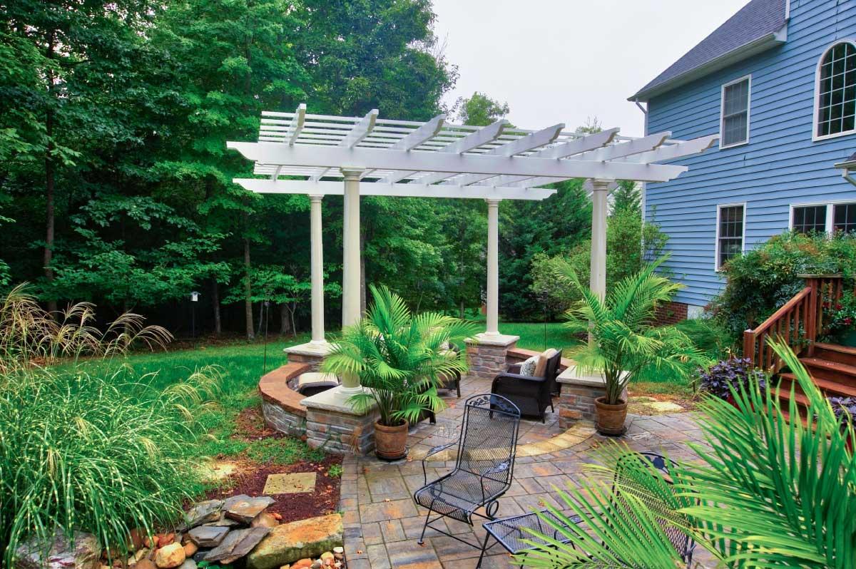Beautiful Pergola Design with Stone Patio in Central VA, Richmond, Williamsburg, Charlottesville and Hampton Roads