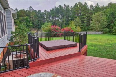 Custom Red Deck Design with Hot Tub in Hampton Roads VA