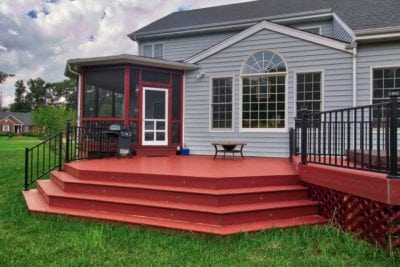 Custom Red Deck with Blue House in Charlottesville, VA