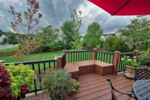 Beatuiful, Wooden Deck with Plants on Cloudy Day in Richmond VA
