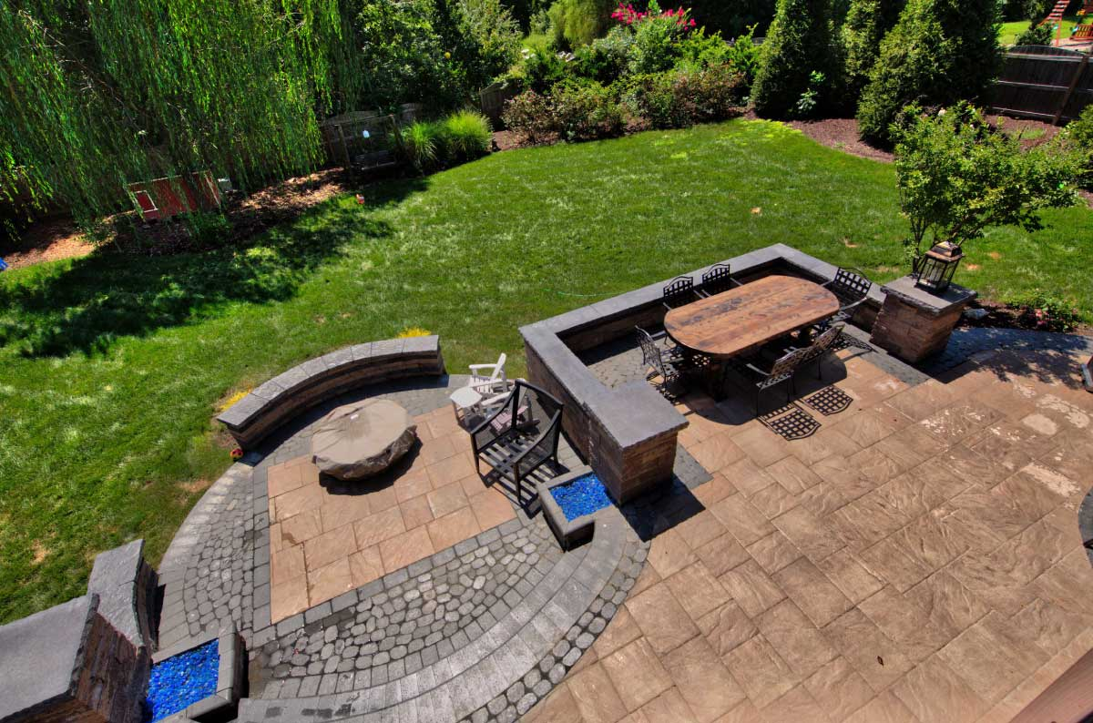 Large Patio with Different Materials and Fire Pit in Charlottesville, VA