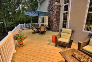 Light Wooden Deck with Outdoor Furniture in Charlottesville VA