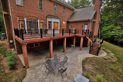 Tall, Wooden Deck with Patio Underneath in Williamsburg VA