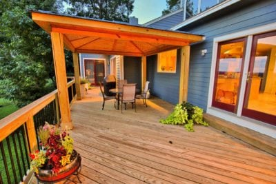 Beautiful, Wooden Deck and Pergola at Dusk in Hampton Roads VA
