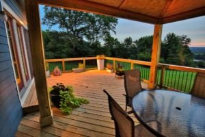Illuminated Wooden Deck at Sunset in Hampton Roads VA