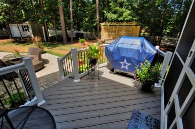 Beautiful, Home Deck Leads to a Stone Porch by Deck Creations in Richmond, Williamsburg, Charlottesville and Hampton Roads VA