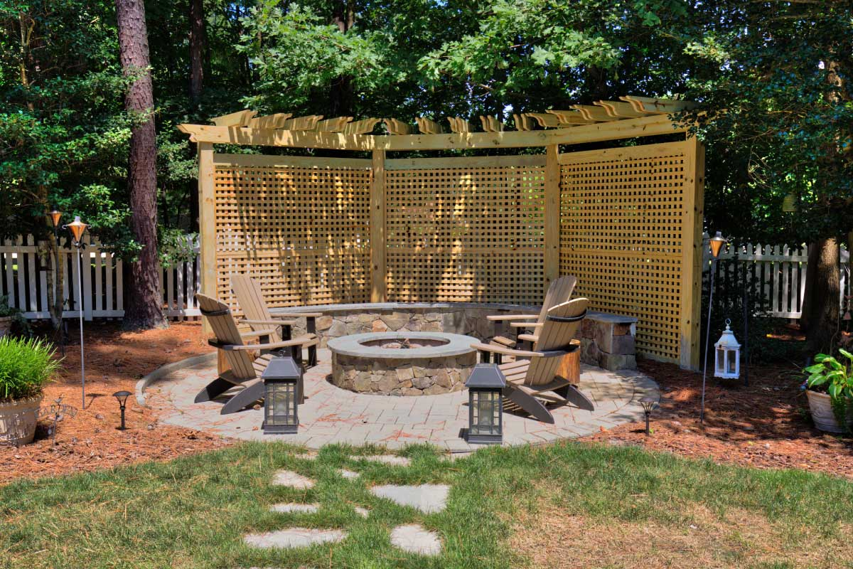 Beautiful Outdoor Fire Pit by Deck Creations in Richmond, Williamsburg, Charlottesville and Hampton Roads VA
