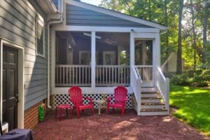 Screened Porch and Brick Patio with Outdoor Furniture in in Richmond, Williamsburg, Charlottesville, Hampton Roads VA