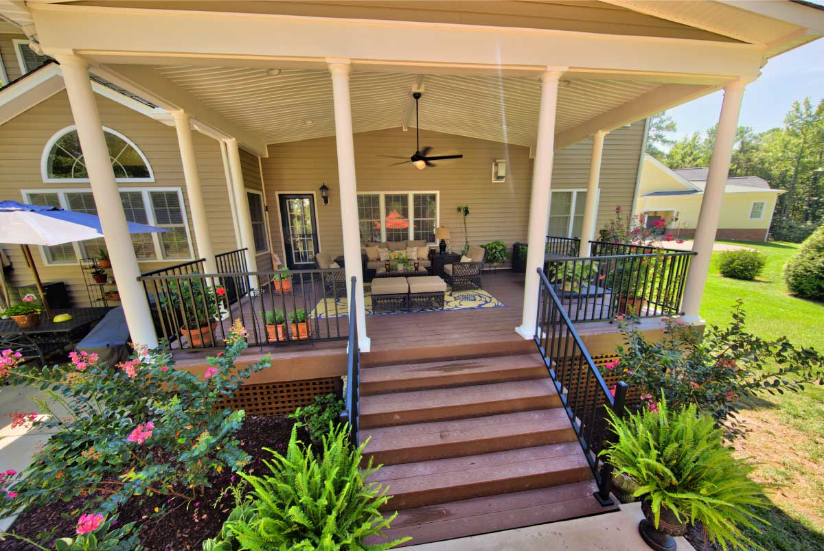 Gorgeous Deck with Outdoor Furniture and Tall Beams by Deck Creations in Richmond, Williamsburg, Charlottesville, Hampton Roads VA