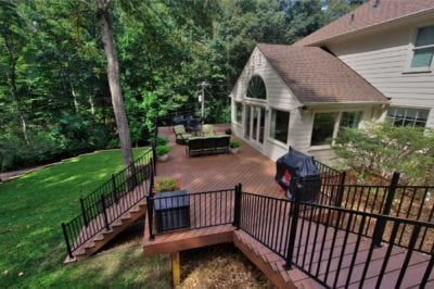 Beautiful, Wooden Deck Design with Stairs and Railings in Richmond, Williamsburg, Charlottesville, Hampton Roads VA