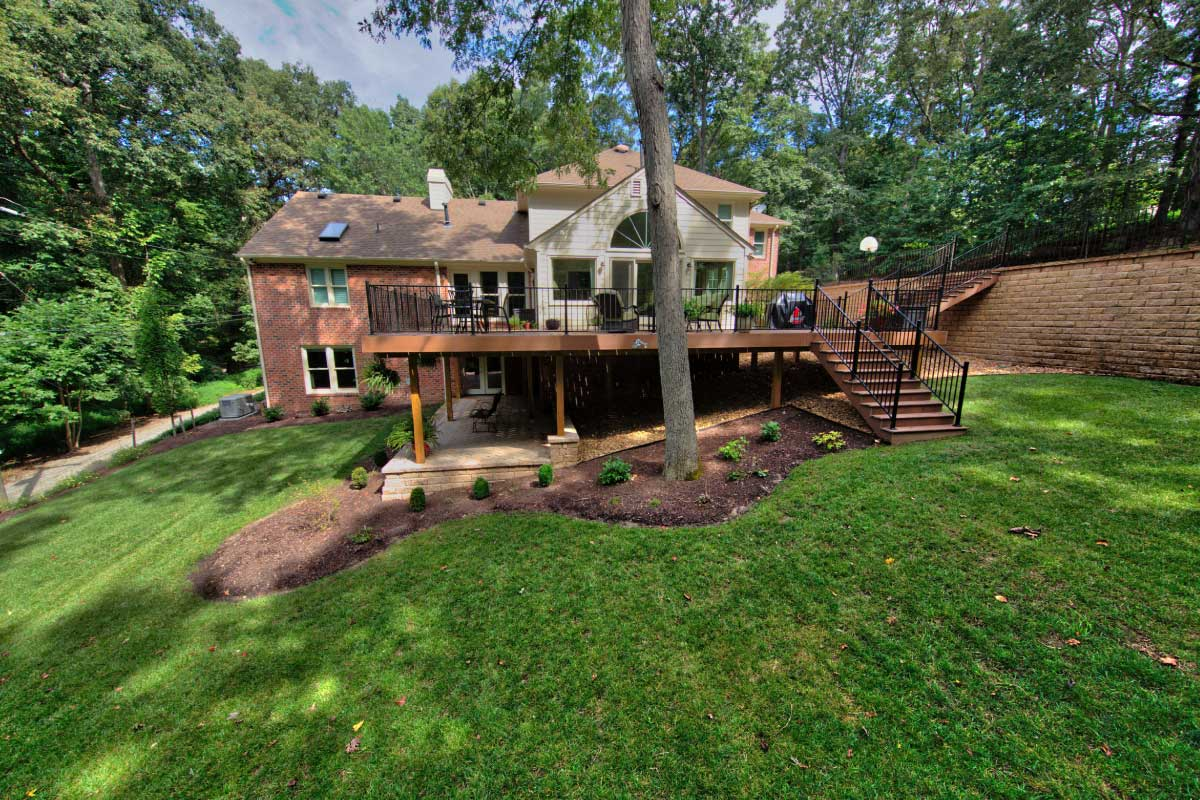 Large Deck with Lower Patio by Deck Company, Deck Creations in Richmond, Williamsburg, Charlottesville, Hampton Roads VA