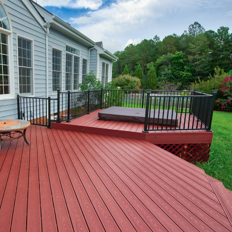 Red Composite Deck with Hot Tub Installation | Richmond, VA