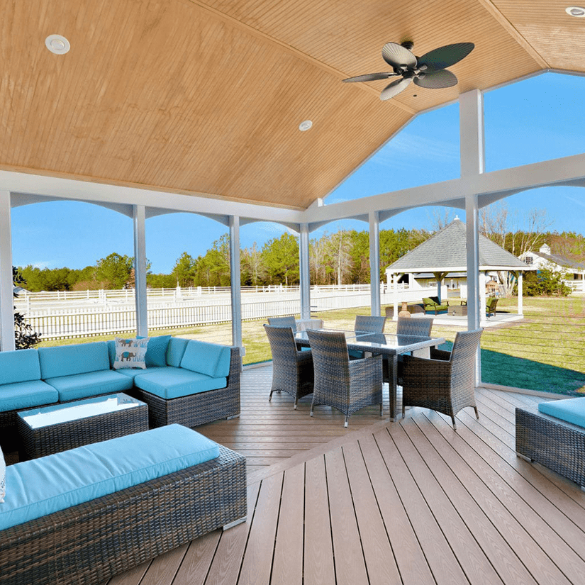 Beach Toned Covered Deck with Fan and Furniture in Richmond, VA | Deck Creations