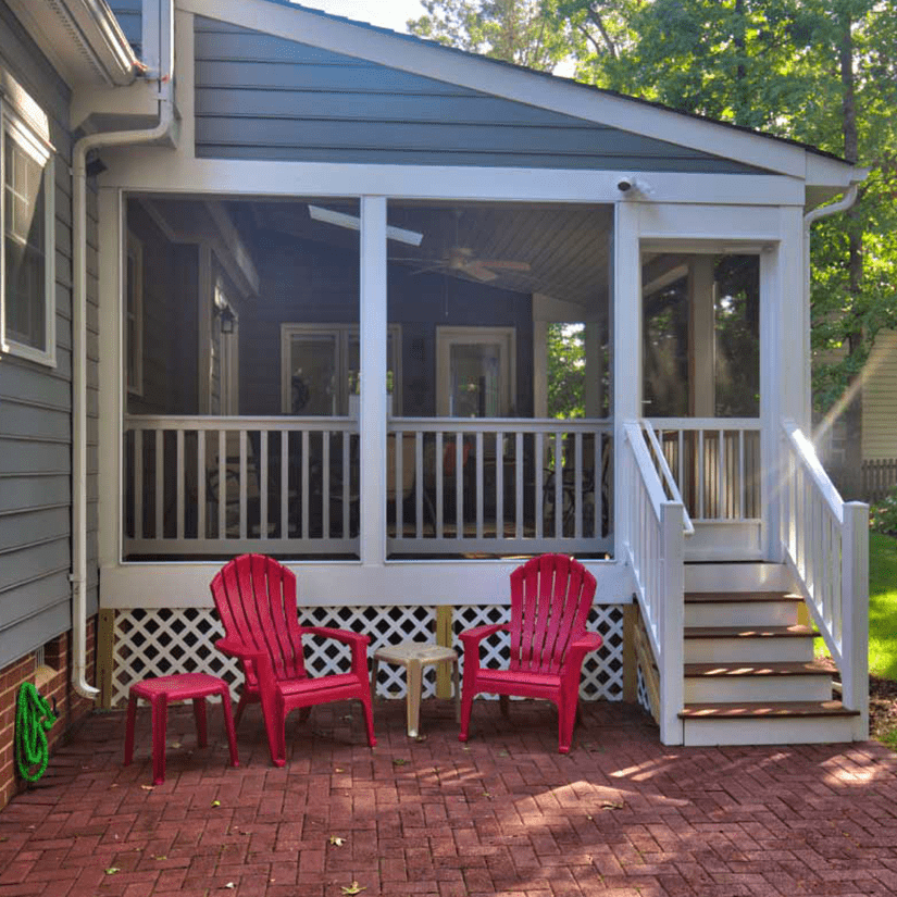 Screened-in Deck with Brick Walkway in Richmond, Virginia | Deck Creations