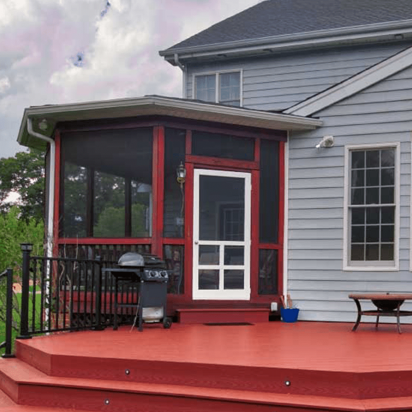 Screened-in Deck with Red Composite Decking in Richmond, VA | Deck Creations