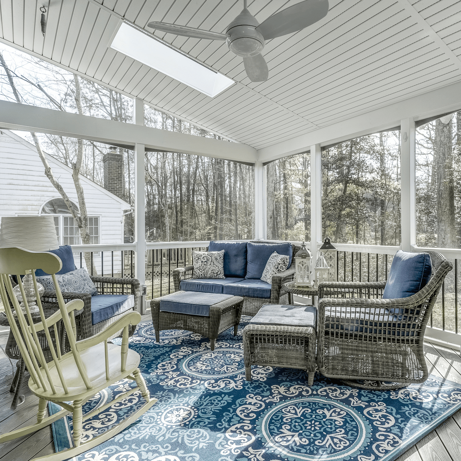 White Screened Porch with Ceiling Fan in Newport, VA